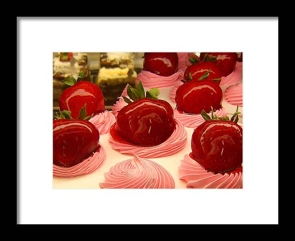 Food Framed Print featuring the painting Strawberry Mousse by Amy Vangsgard
