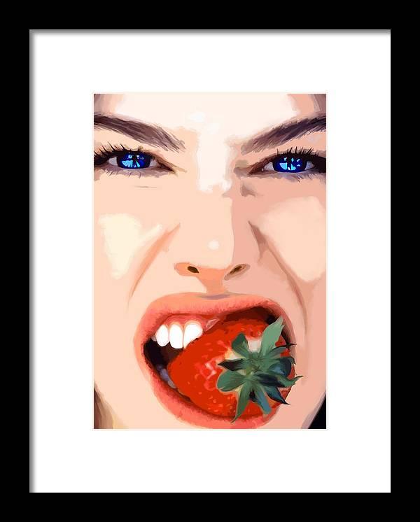 Pretty Girl Framed Print featuring the digital art Strawberry - Pretty Faces Series by Gabriel T Toro