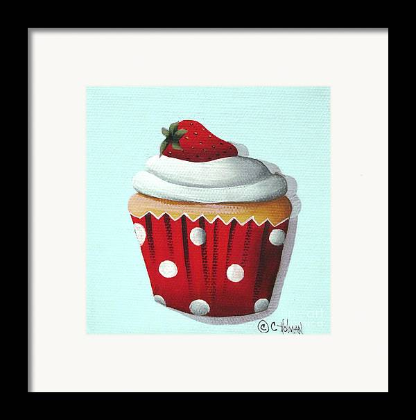 Art Framed Print featuring the painting Strawberry Shortcake Cupcake by Catherine Holman