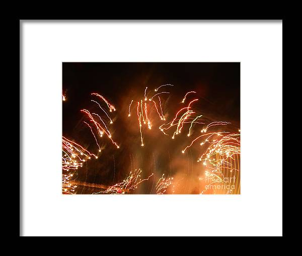 Fireworks Framed Print featuring the photograph Streaming Balls Of Fire by Heather White