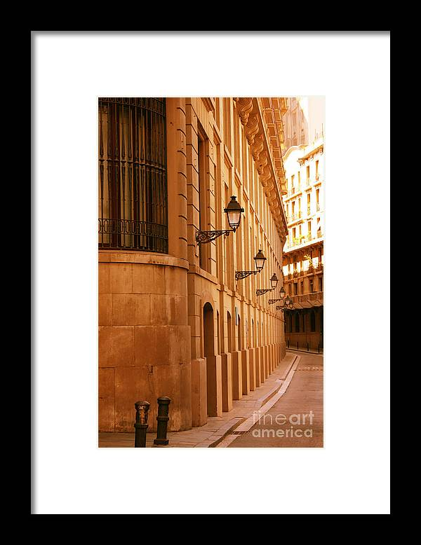 Barcelona Framed Print featuring the photograph Street in Barcelona by Sophie Vigneault