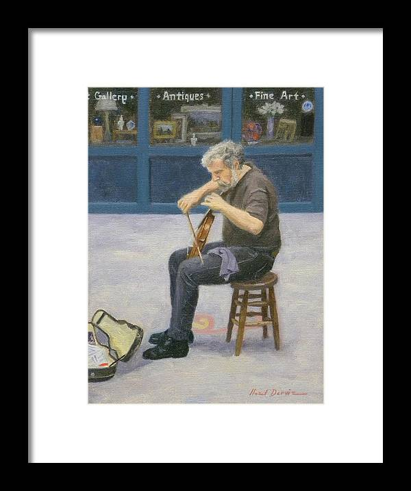 Cityscape Framed Print featuring the painting Street Musician by Noel Darvie