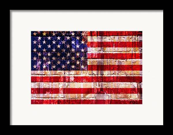 American Flag Framed Print featuring the digital art Street Star Spangled Banner by Delphimages Photo Creations