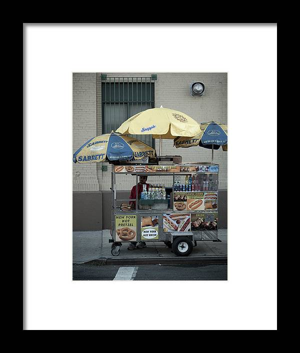 Manhattan Framed Print featuring the photograph Street Vendor by Newyorkcitypics Bring your memories home