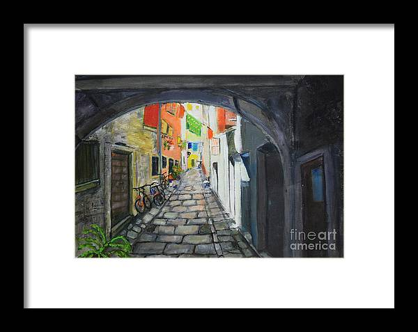 Raija Merila Framed Print featuring the painting Street View 2 From Pula by Raija Merila