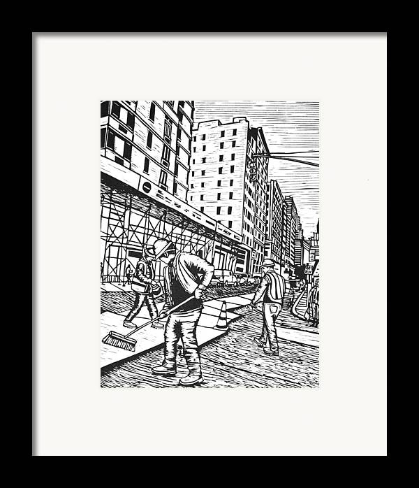 New York Framed Print featuring the drawing Street Work In New York by William Cauthern