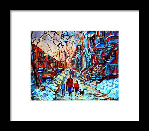 Montreal Framed Print featuring the painting Streets Of Montreal by Carole Spandau