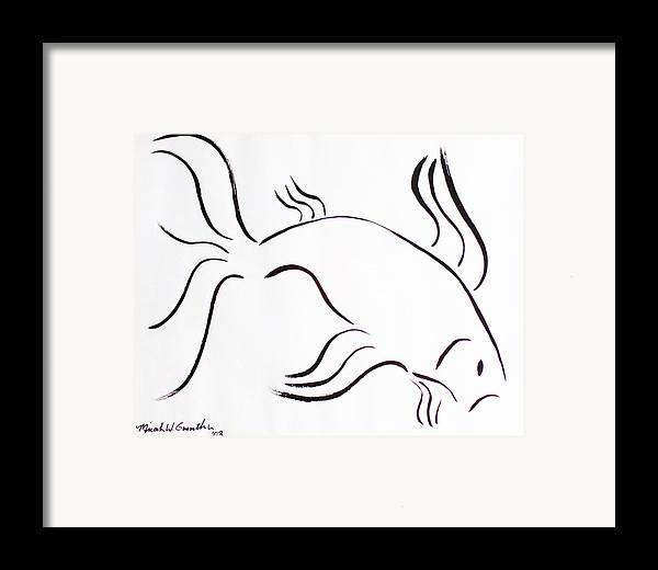 Abstract Framed Print featuring the drawing Strength by Micah Guenther