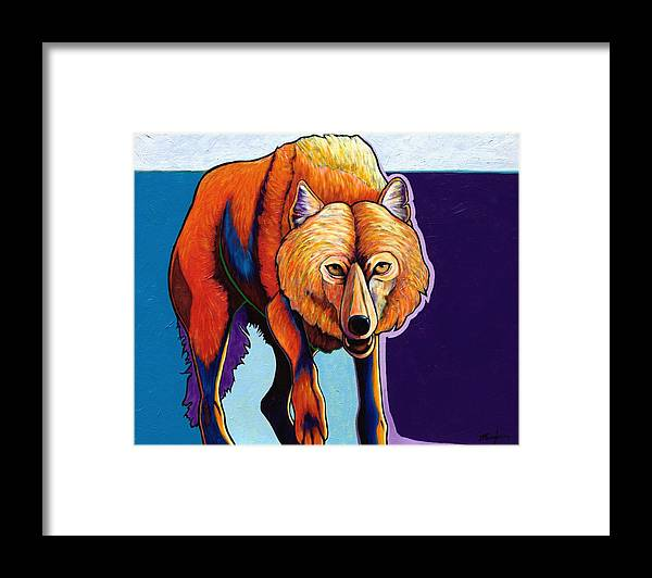 Contemporary Framed Print featuring the painting Strictly Business - Arctic Wolf by Joe Triano