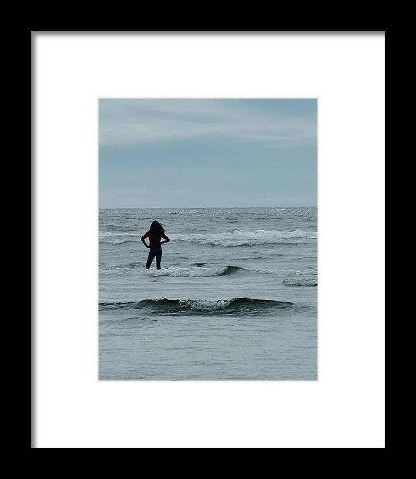 Girl Striking Pose Framed Print featuring the photograph Striking A Pose In The Pacific by Ann Michelle Swadener