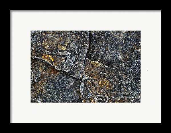 Stone Framed Print featuring the photograph Structural Stone Surface by Heiko Koehrer-Wagner