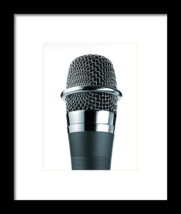 White Background Framed Print featuring the photograph Studio Shot Of Microphone On White by David Arky