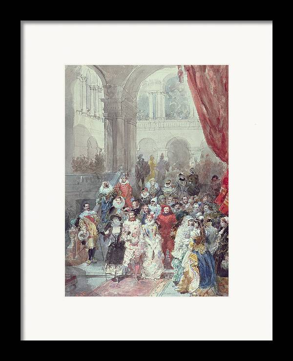Study For A Costume Ball Given By The Princess Of Sagan Framed Print featuring the painting Study For A Costume Ball Given By The Princess Of Sagan by Eugene-Louis Lami