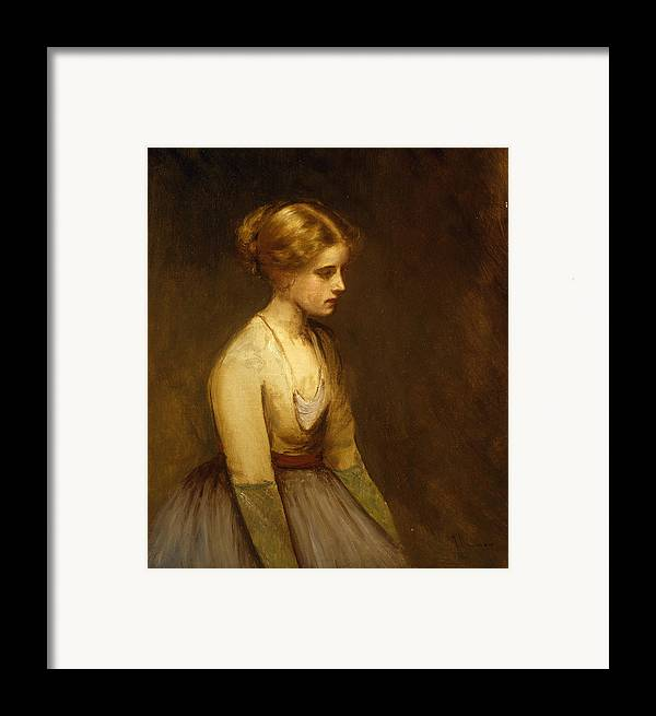Study; Fair-haired; Beauty; Female; Woman; Girl; Young; Youth; Three-quarter Length; Demure; Modest; Beautiful; Thoughtful; Pensive; Full; Skirt; Brown; Background; Golden; Earthy; Tone; Tones; Shy; Blonde Framed Print featuring the painting Study Of A Fair Haired Beauty by Jean Jacques Henner