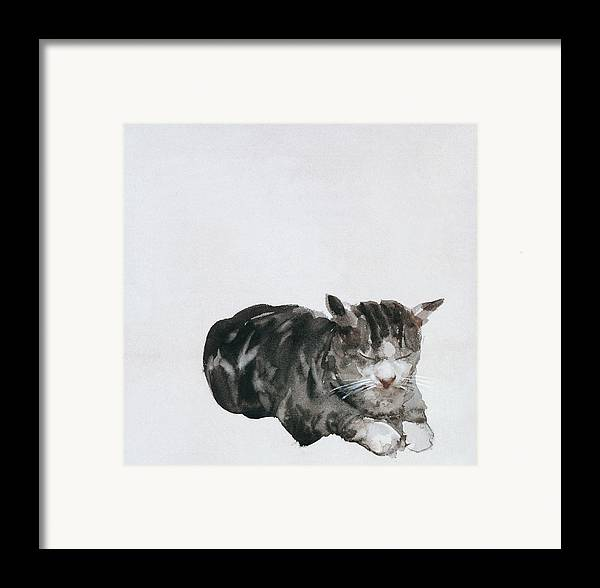 Cat Framed Print featuring the painting Study Of Cat by Giuseppe De Nittis
