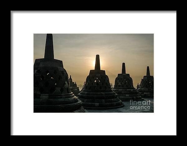 Yogjakarta Framed Print featuring the photograph Stupah At Borobudur by Prashant Sethi