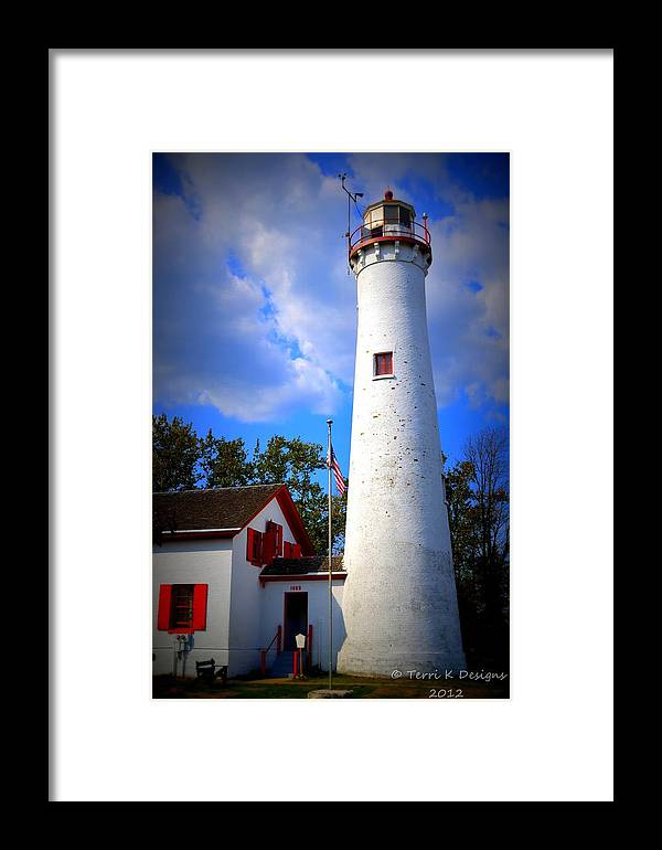 Lighthouse Framed Print featuring the photograph Sturgeon Point Lighthouse Michigan by Terri K Designs