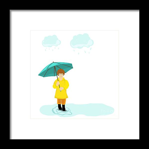 Waterdrop Framed Print featuring the digital art Stylish Girl Holding Green Umbrella On by Allies Interactive