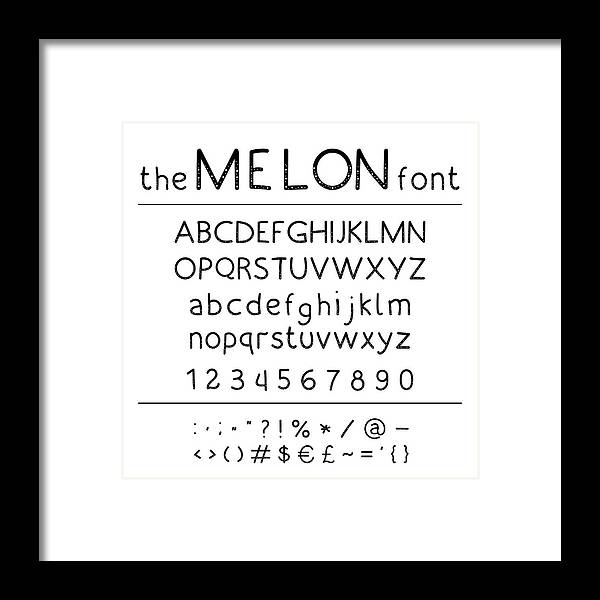 Stylish Vector Abc  Retro Cute Hand Drawing Font - Melon  Unique Alphabet  With Letters In Numbers And Symbols  Framed Print