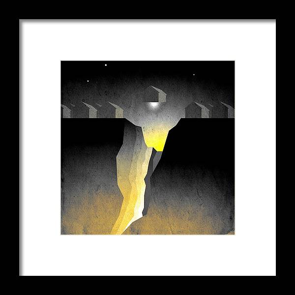 Abstract Expressionism Framed Print featuring the digital art Suburban Fracture by Milton Thompson