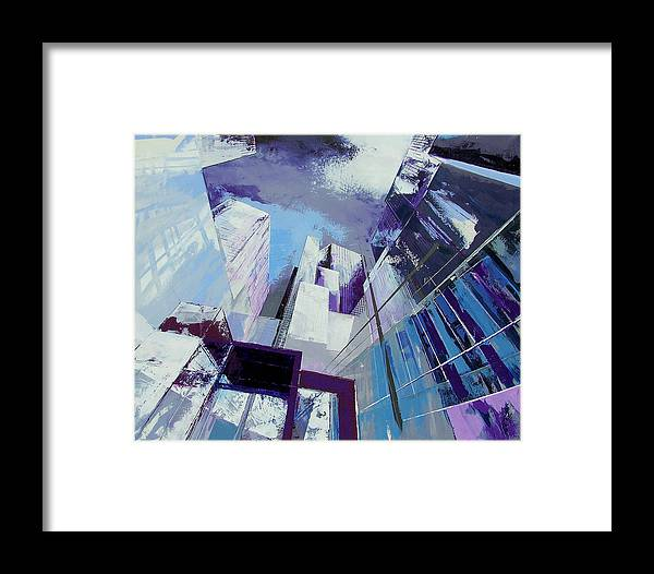 Urban Landscape: Low Perspective Like When Coming Out Of The Subway. Urbanism Framed Print featuring the painting subway EXIT by Frank De Blok