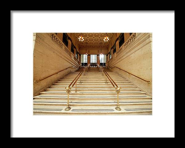 Steps Framed Print featuring the photograph Subway Station Staircase,chicago by Lisa-blue