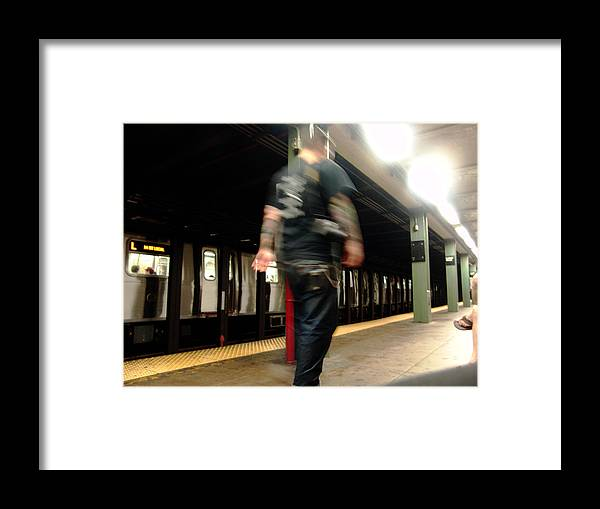 Nyc Subway Framed Print featuring the photograph Subway Walking Tatoo by Mieczyslaw Rudek