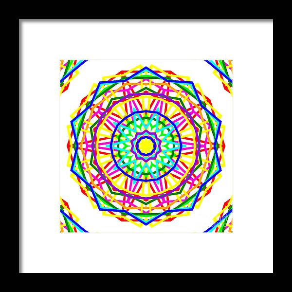 Sudoku Framed Print featuring the digital art Sudoku Connections White Kaleidoscope by Ron Brown