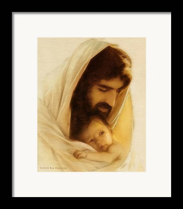 Jesus Framed Print featuring the digital art Suffer The Little Children by Ray Downing