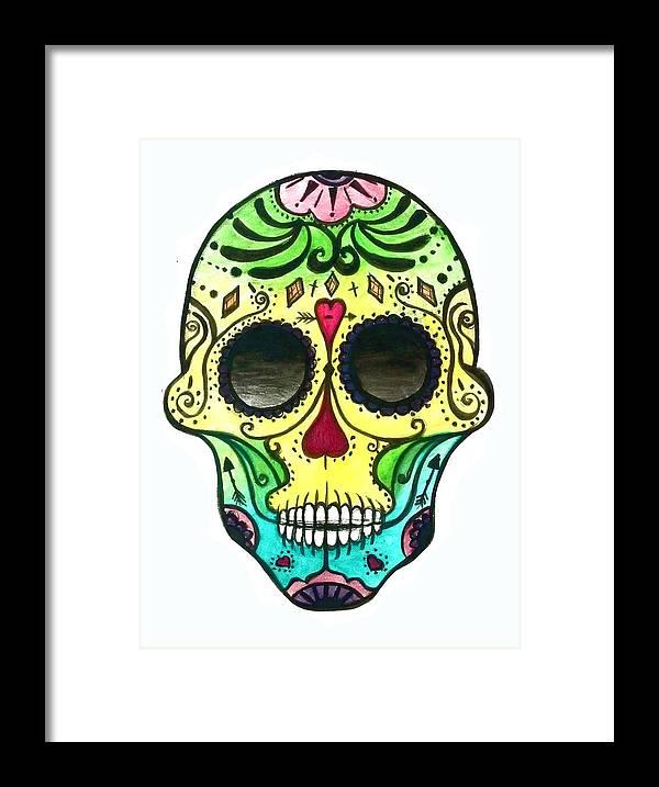 Sugar Skull Framed Print featuring the painting Sugar Skull by Skye Pratt