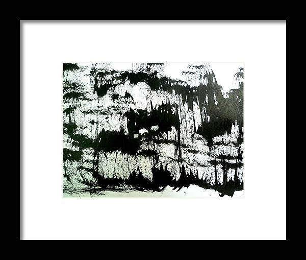 Sumi Framed Print featuring the drawing Sumi-e 130425-4 by Aquira Kusume