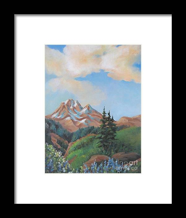 Landscape Framed Print featuring the painting Summer At Kananaskis 2 by Marta Styk