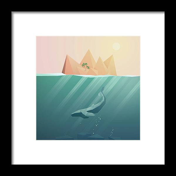 Underwater Framed Print featuring the digital art Summer Background With Underwater by Jozefmicic