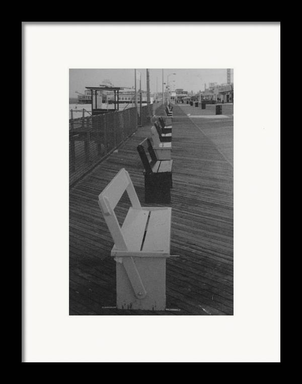 Seaside Heights Framed Print featuring the photograph Summer Benches Seaside Heights Nj Bw by Joann Renner