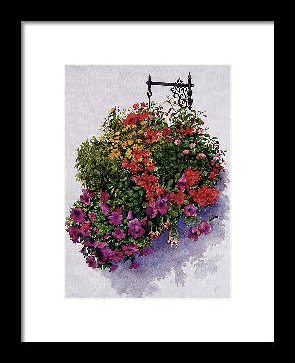 Hanger Framed Print featuring the painting Summer Bouquet by Karol Wyckoff