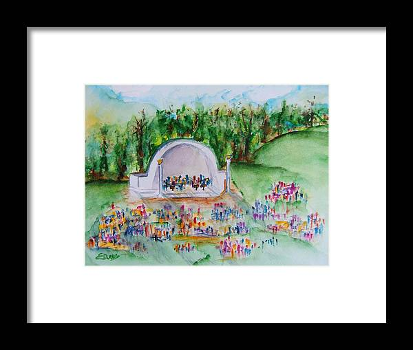 Devou Park Framed Print featuring the painting Summer Concert In The Park by Elaine Duras