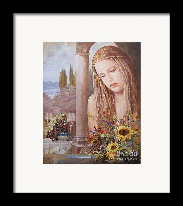 Portrait Framed Print featuring the painting Summer Day by Sinisa Saratlic