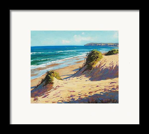 Seascape Framed Print featuring the painting Summer Day The Entrance by Graham Gercken