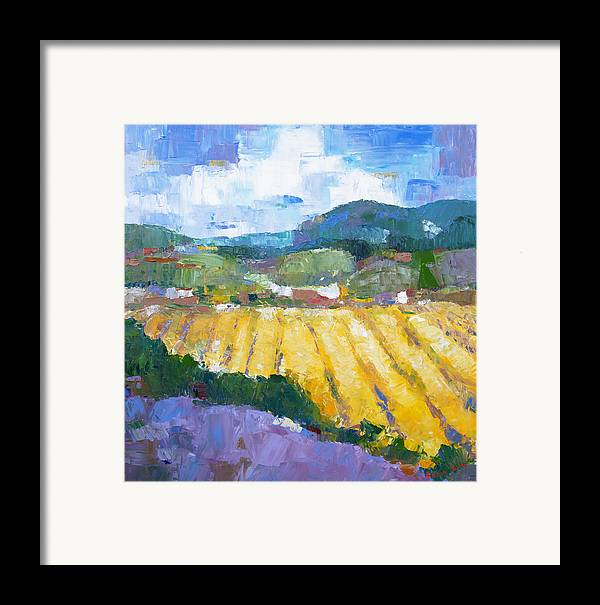 Oil Framed Print featuring the painting Summer Field 2 by Becky Kim