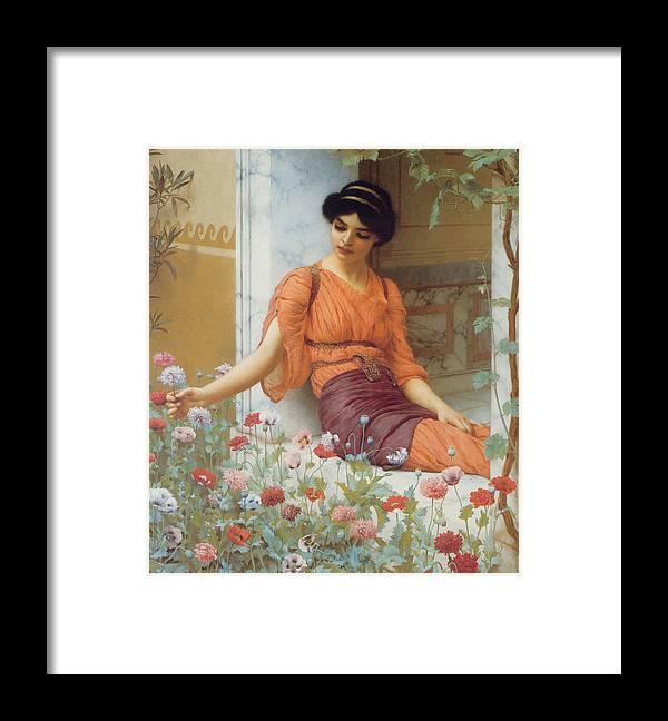Summer Flowers Framed Print featuring the digital art Summer Flowers by John William Godward