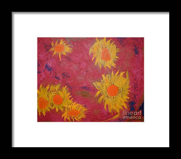 Flowers Framed Print featuring the painting Summer Flowers by Roger Potts