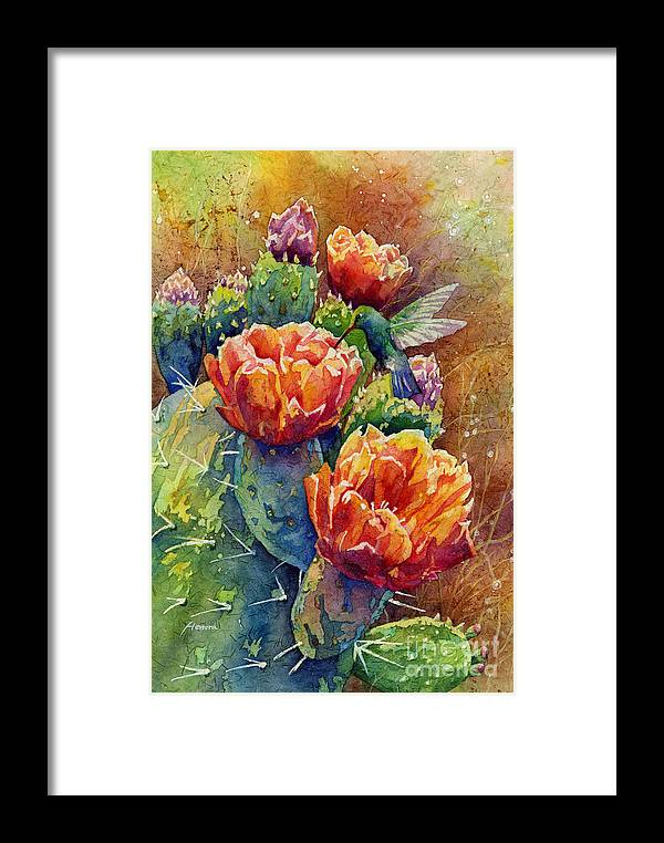 Cactus Framed Print featuring the painting Summer Hummer by Hailey E Herrera