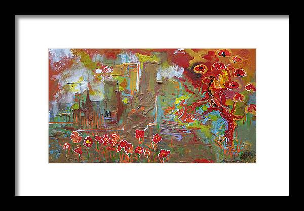 Abstract Framed Print featuring the painting Summer In The City by Andy Waudby