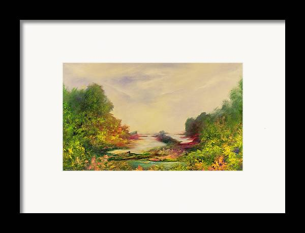Landscape; Mystical; Dawn Framed Print featuring the painting Summer Joy by Hannibal Mane