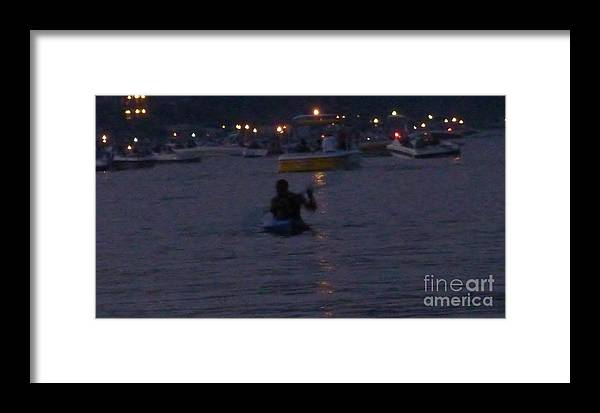 Kayaking At Night Framed Print featuring the photograph Summer Lake Evening Wait by Susan Garren