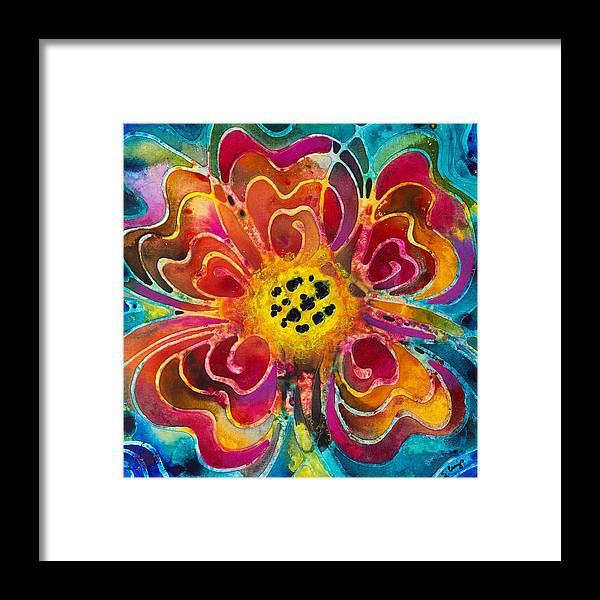 Colorful Framed Print featuring the painting Colorful Flower Art - Summer Love By Sharon Cummings by Sharon Cummings