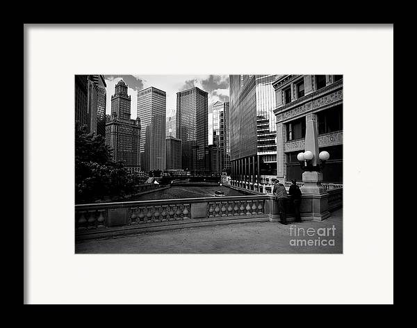 Usa Framed Print featuring the photograph Summer On The Chicago River - Black And White by Frank J Casella