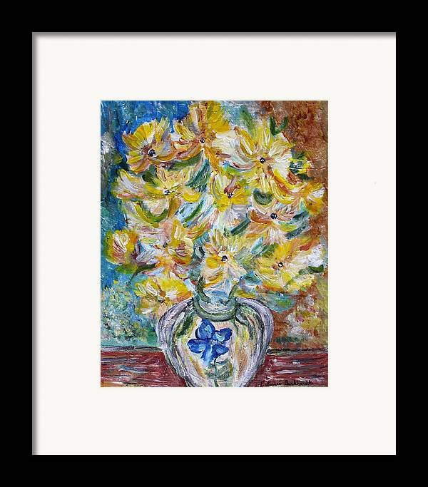 Flowers Framed Print featuring the painting Summer Reflections by Louise Burkhardt