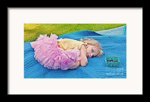 3 Year Old Girl Framed Print featuring the photograph Summer Rest With Blueberries by Valerie Garner