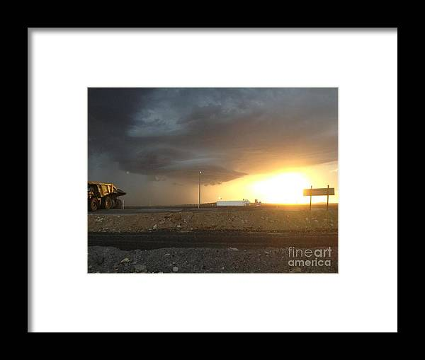 Our Mine Site In The Coal Fields Of Queensland Framed Print featuring the photograph Summer Storm by Barry Olsen